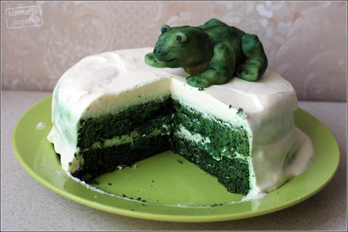 Biało-zielony tort z żabą